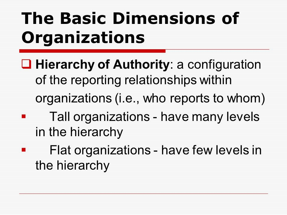 The Diagram  Representing the connections between the various departments within an organization  Provides information about the various tasks perfo