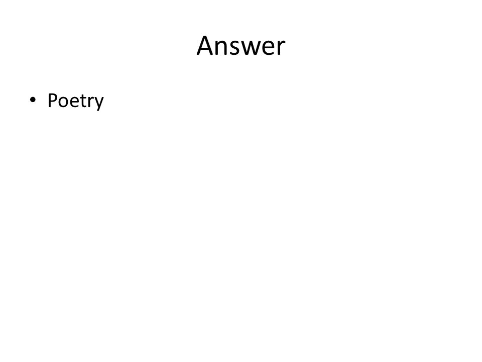 Answer Poetry