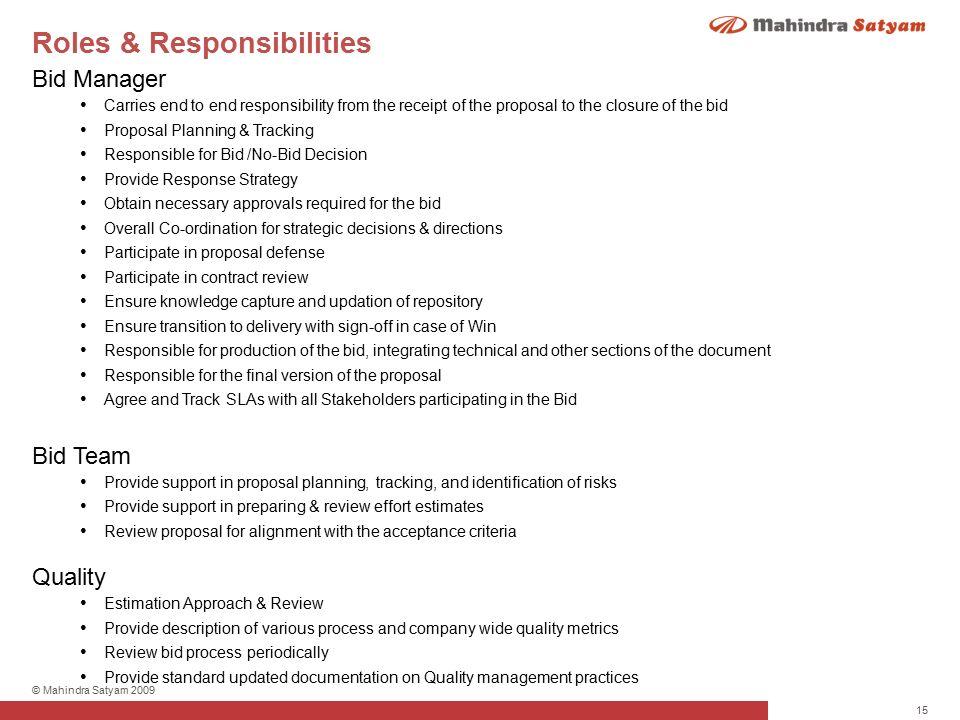 1 Mahindra Satyam 2009 Version 10 Bid Management Process Ppt