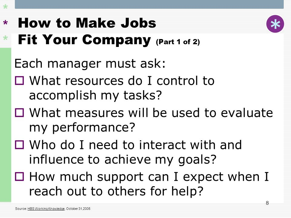 ****** 9 How to Make Jobs Fit Your Company (Part 2 of 2) Four Basic Spans of a Job:  The Span of Control  The Span of Accountability  The Span of Influence  The Span of Support Source: HBS Working Knowledge, October 31,2005