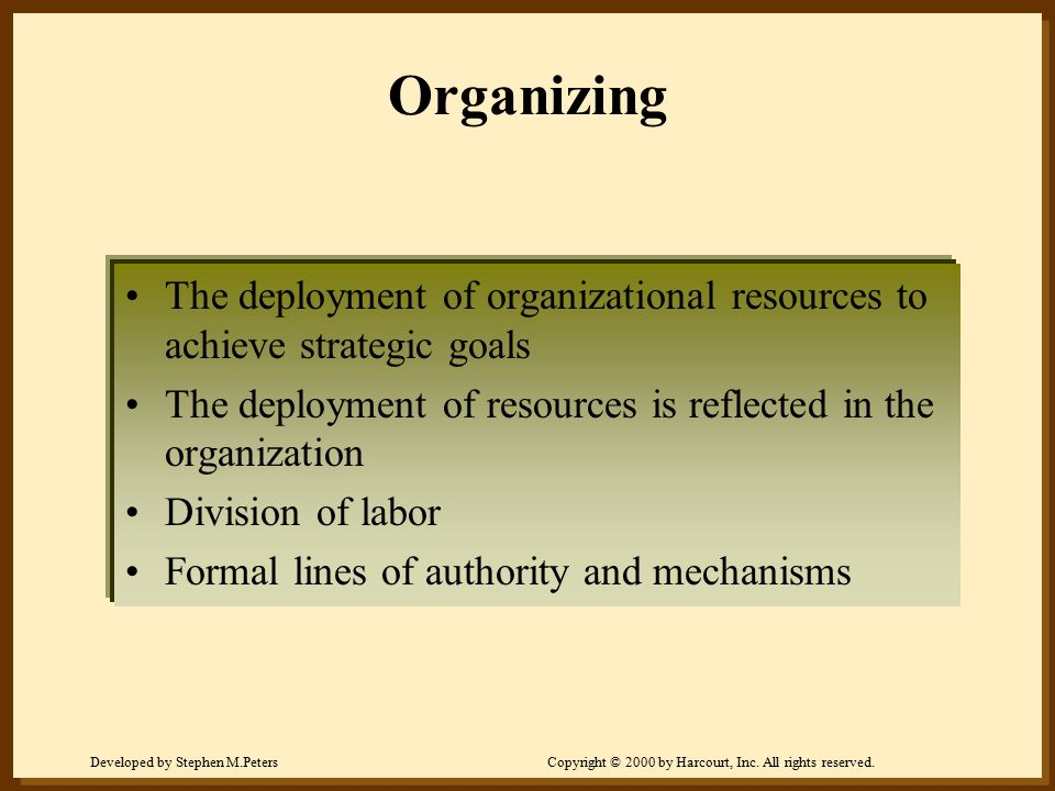 Developed by Stephen M.PetersCopyright © 2000 by Harcourt, Inc. All rights reserved. Organizing The deployment of organizational resources to achieve