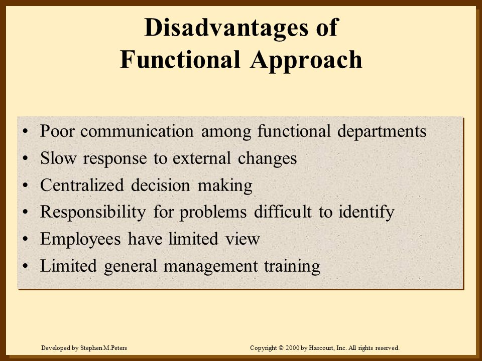 Developed by Stephen M.PetersCopyright © 2000 by Harcourt, Inc. All rights reserved. Disadvantages of Functional Approach Poor communication among fun