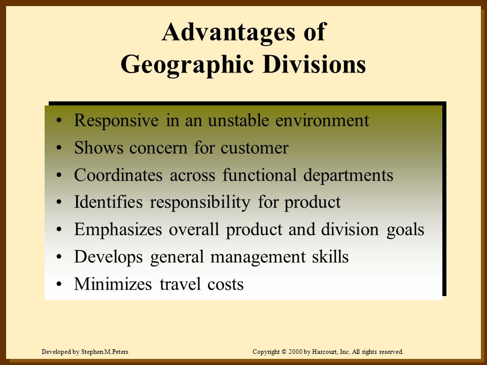 Developed by Stephen M.PetersCopyright © 2000 by Harcourt, Inc. All rights reserved. Advantages of Geographic Divisions Responsive in an unstable envi