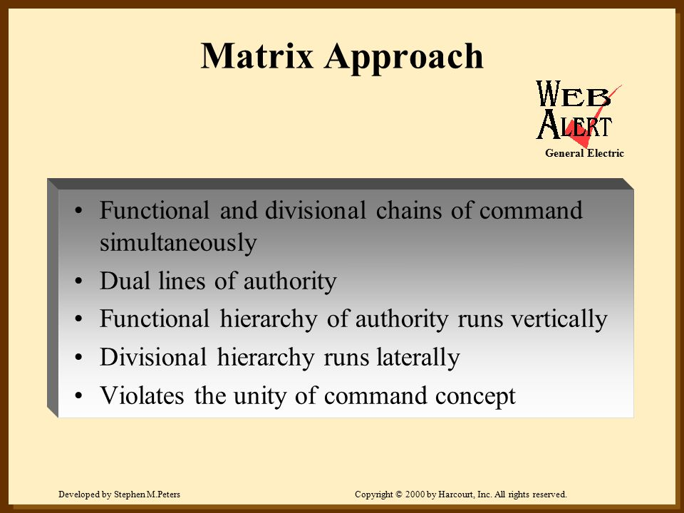 Developed by Stephen M.PetersCopyright © 2000 by Harcourt, Inc. All rights reserved. Matrix Approach Functional and divisional chains of command simul