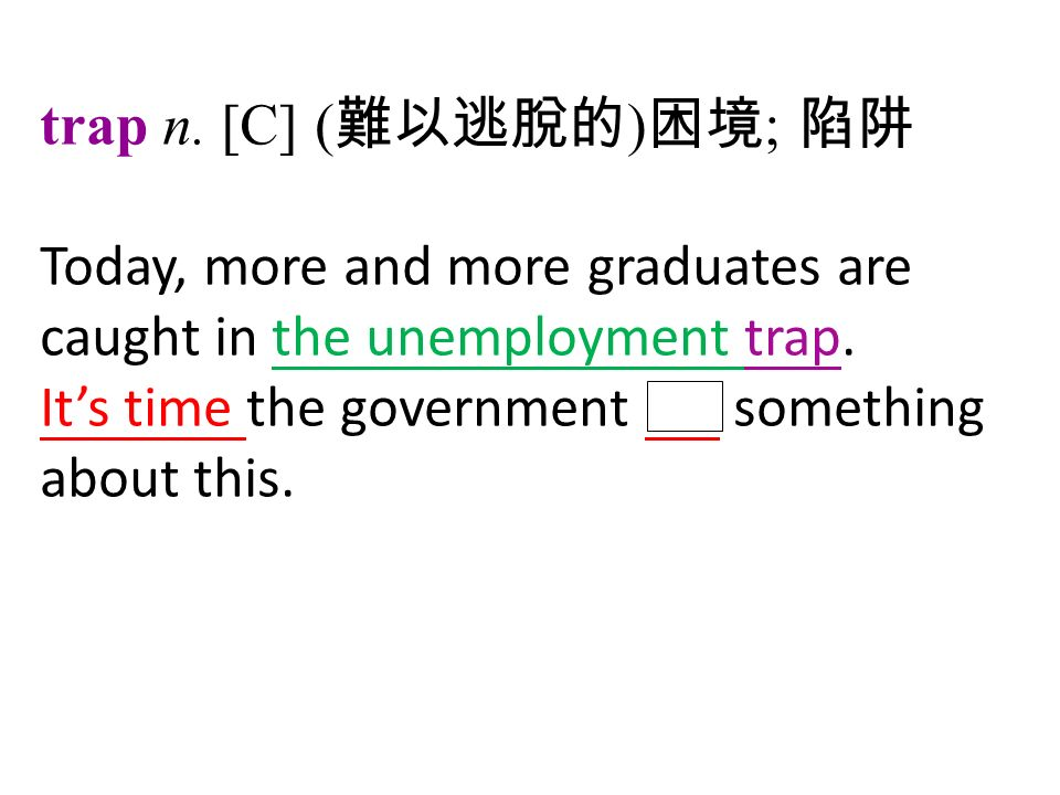 trap n. [C] ( 難以逃脫的 ) 困境 ; 陷阱 Today, more and more graduates are caught in the unemployment trap.