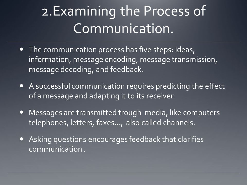 2.Examining the Process of Communication.