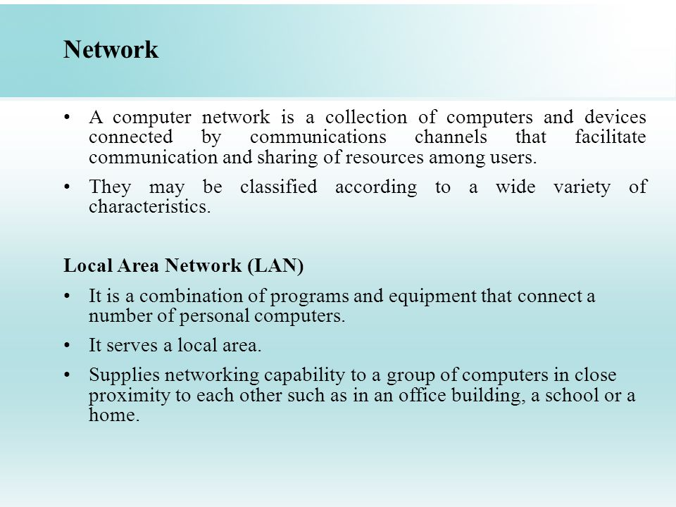 Network A computer network is a collection of computers and devices connected by communications channels that facilitate communication and sharing of resources among users.