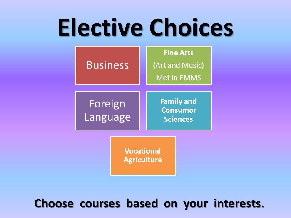 Elective Choices Business Fine Arts (Art and Music) Met in EMMS Foreign Language Family and Consumer Sciences Vocational Agriculture Choose courses based on your interests.