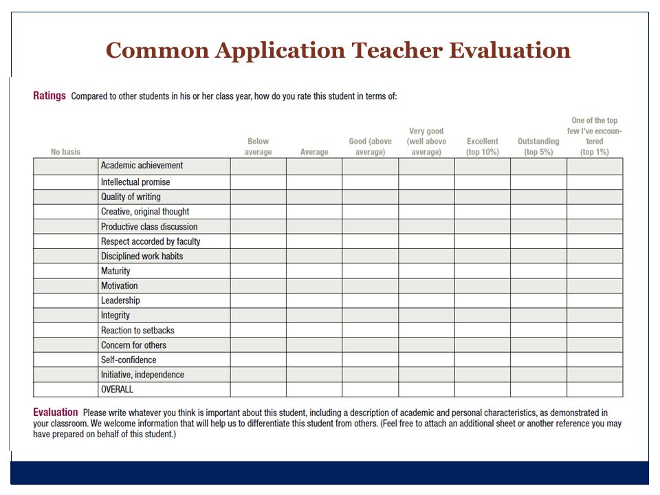 Common Application Teacher Evaluation Form Image Gallery - Hcpr