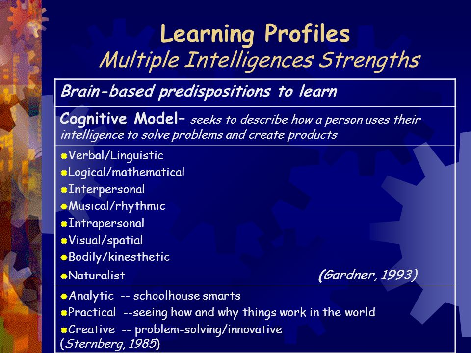 Learning Profiles Multiple Intelligences Strengths Brain-based predispositions to learn Cognitive Model– seeks to describe how a person uses their intelligence to solve problems and create products  Verbal/Linguistic  Logical/mathematical  Interpersonal  Musical/rhythmic  Intrapersonal  Visual/spatial  Bodily/kinesthetic  Naturalist (Gardner, 1993)  Analytic -- schoolhouse smarts  Practical --seeing how and why things work in the world  Creative -- problem-solving/innovative (Sternberg, 1985)