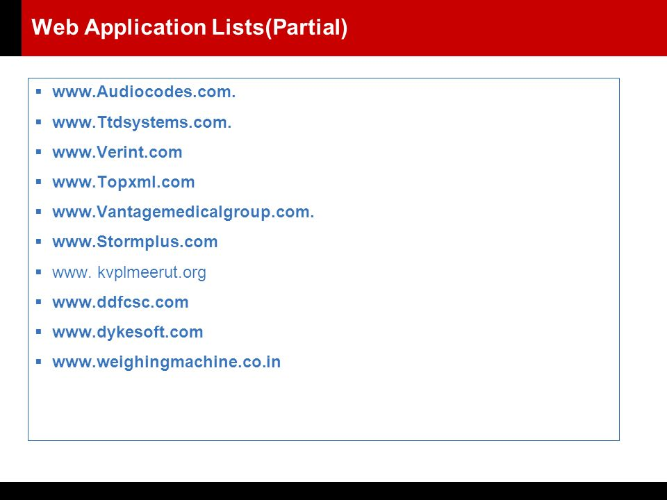 Web Application Lists(Partial) 