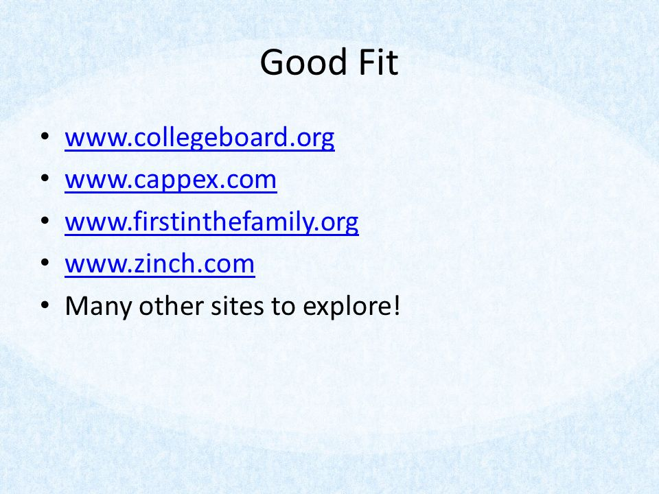Good Fit Many other sites to explore!