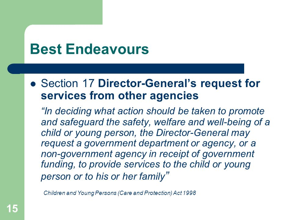 15 Best Endeavours Section 17 Director-General's request for services from other agencies In deciding what action should be taken to promote and safeguard the safety, welfare and well-being of a child or young person, the Director-General may request a government department or agency, or a non-government agency in receipt of government funding, to provide services to the child or young person or to his or her family Children and Young Persons (Care and Protection) Act 1998