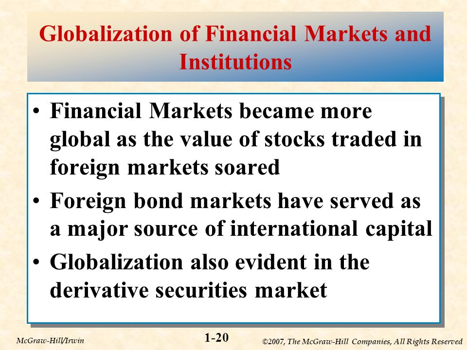 ©2007, The McGraw-Hill Companies, All Rights Reserved 1-20 McGraw-Hill/Irwin Globalization of Financial Markets and Institutions Financial Markets became more global as the value of stocks traded in foreign markets soared Foreign bond markets have served as a major source of international capital Globalization also evident in the derivative securities market Financial Markets became more global as the value of stocks traded in foreign markets soared Foreign bond markets have served as a major source of international capital Globalization also evident in the derivative securities market