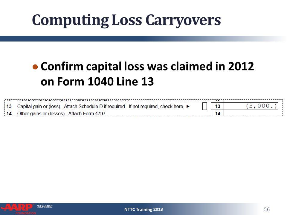 TAXAIDE Capital Gain or Loss Form 1040Line 13 Pub 4012D13 Pub – Capital Loss Carryover Worksheet