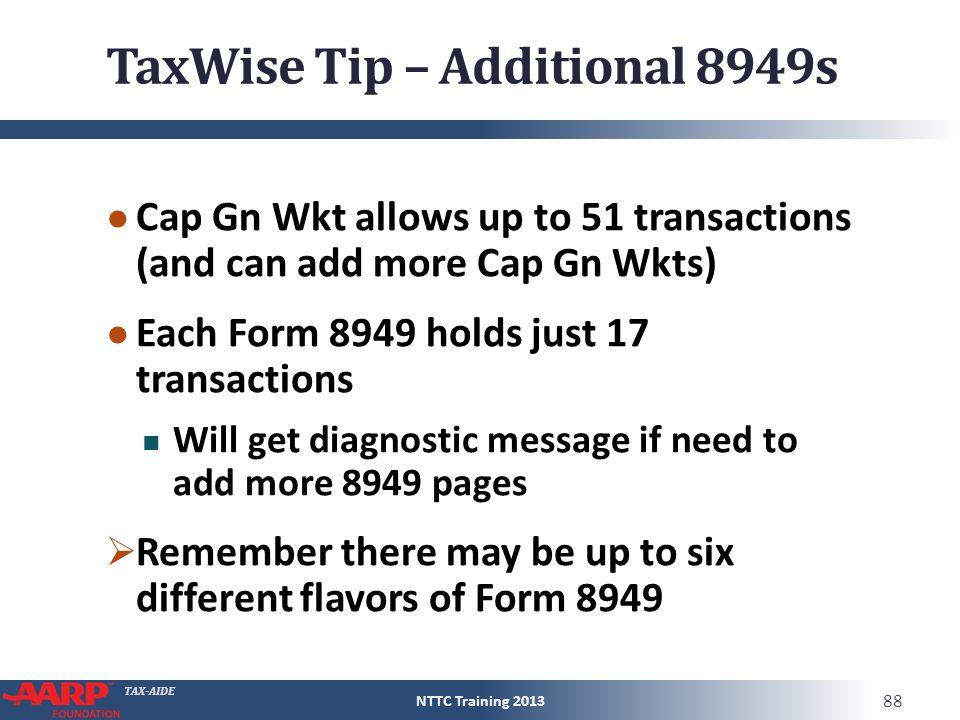TAX-AIDE Capital Gain or Loss Form 1040Line 13 Pub 4012D-13 Pub ...