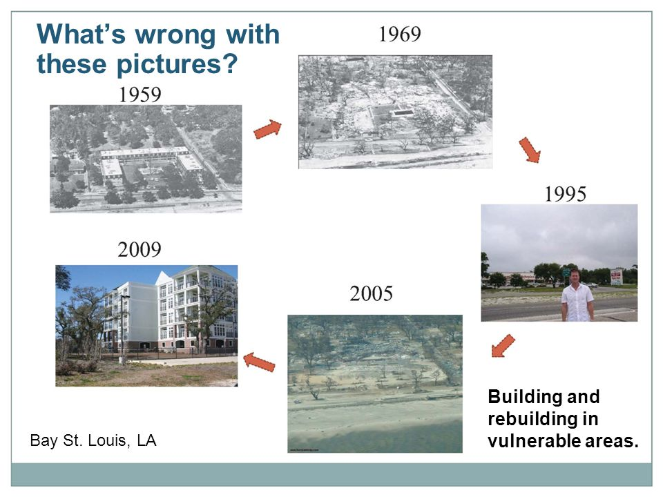 What's wrong with these pictures Bay St. Louis, LA Building and rebuilding in vulnerable areas.