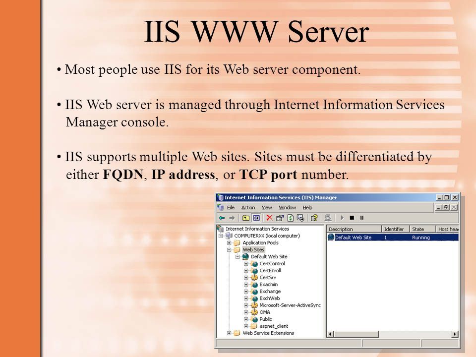 IIS WWW Server Most people use IIS for its Web server component.