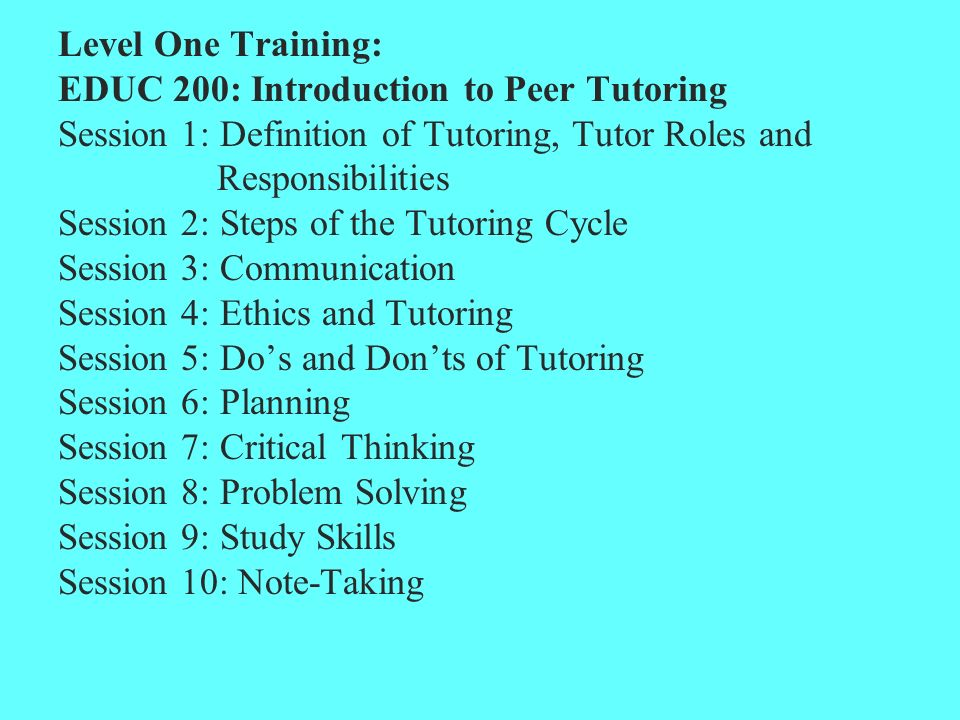 roles and responsibilities of the tutor