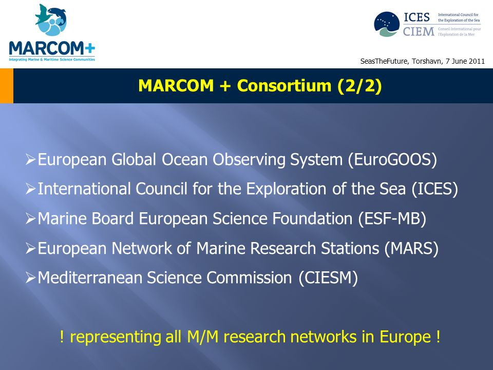 MARCOM + Consortium (2/2)  European Global Ocean Observing System (EuroGOOS)  International Council for the Exploration of the Sea (ICES)  Marine Board European Science Foundation (ESF-MB)  European Network of Marine Research Stations (MARS)  Mediterranean Science Commission (CIESM) .