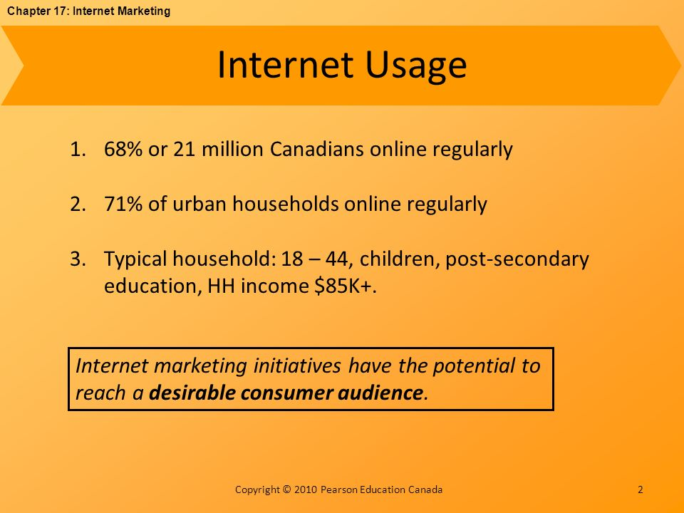 Chapter 17: Internet Marketing Copyright © 2010 Pearson Education Canada Marketing: Price Strategies 13 Online prices are not much lower than offline prices.
