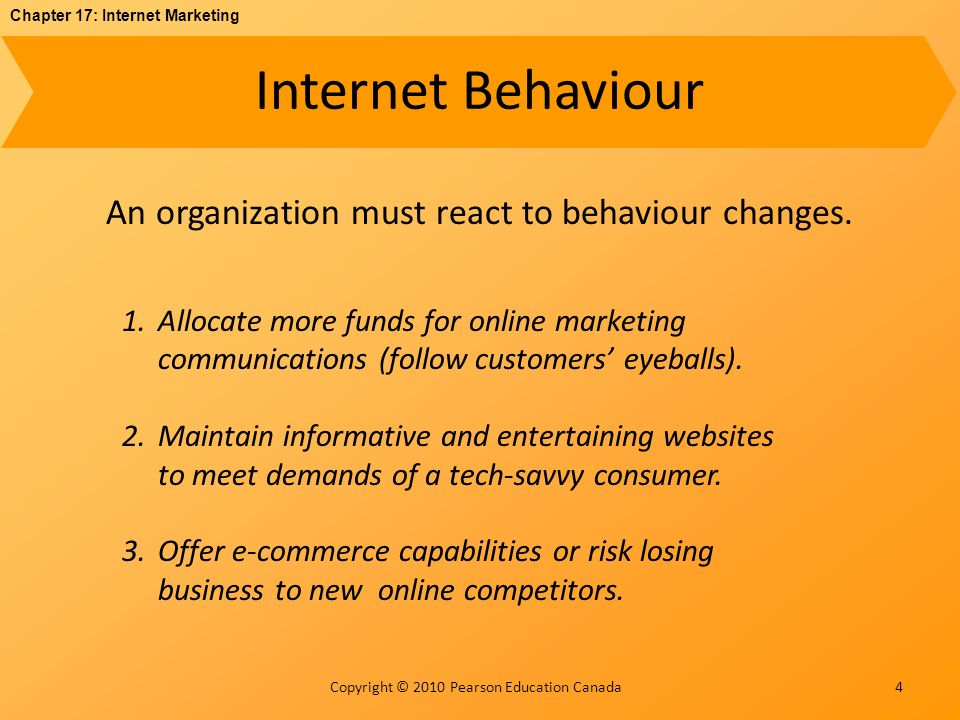 Chapter 17: Internet Marketing Copyright © 2010 Pearson Education Canada Internet Behaviour 4 An organization must react to behaviour changes.