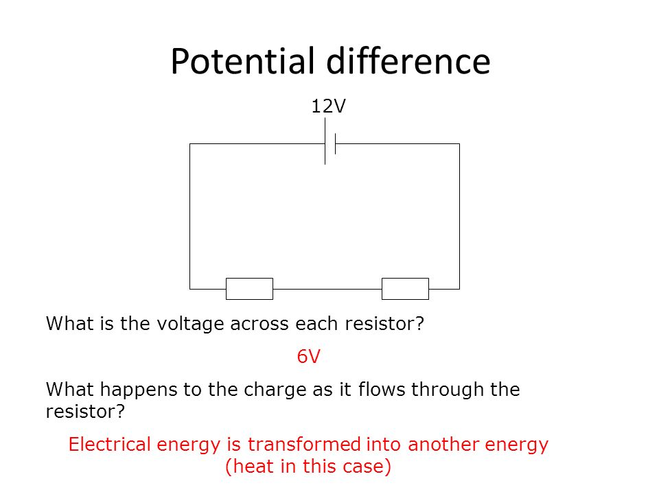 Potential difference 12V What is the voltage across each resistor.