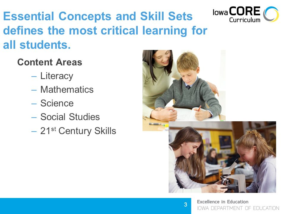 3 Essential Concepts and Skill Sets defines the most critical learning for all students.