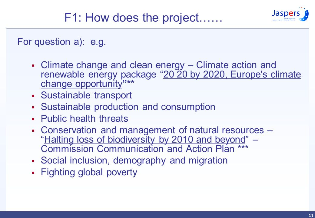11 F1: How does the project…… For question a): e.g.