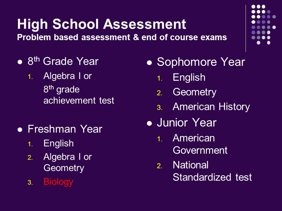 High School Assessment Problem based assessment & end of course exams 8 th Grade Year 1.