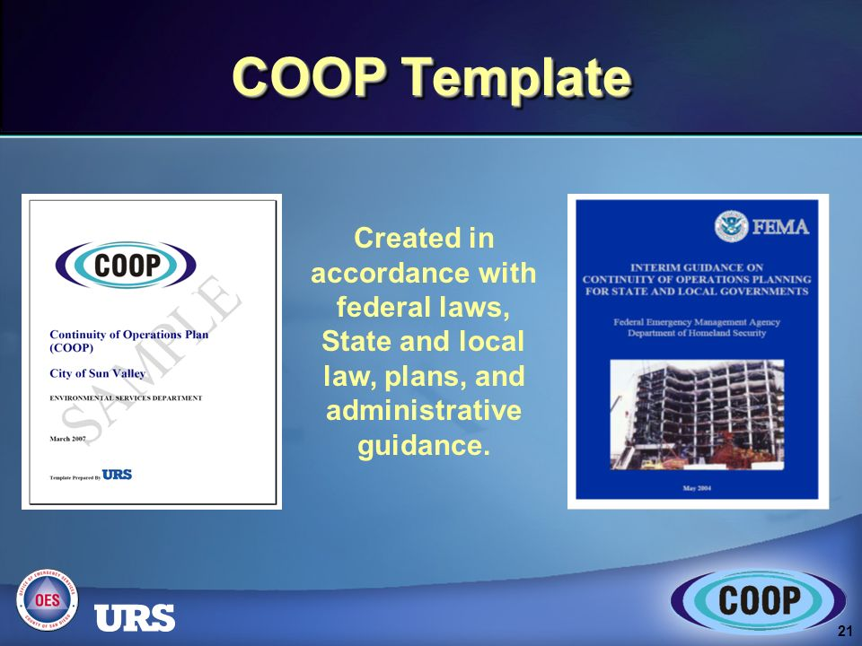 1 Continuity of Operations Plan (COOP) Kickoff Meeting May ppt ...