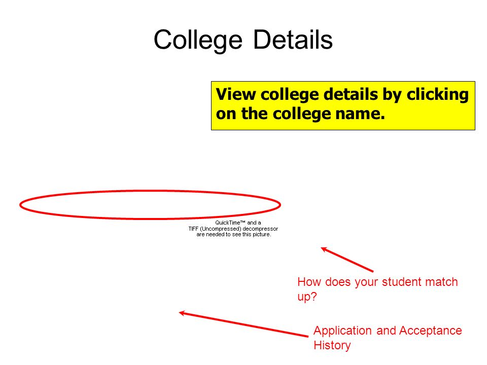 College Details View college details by clicking on the college name.