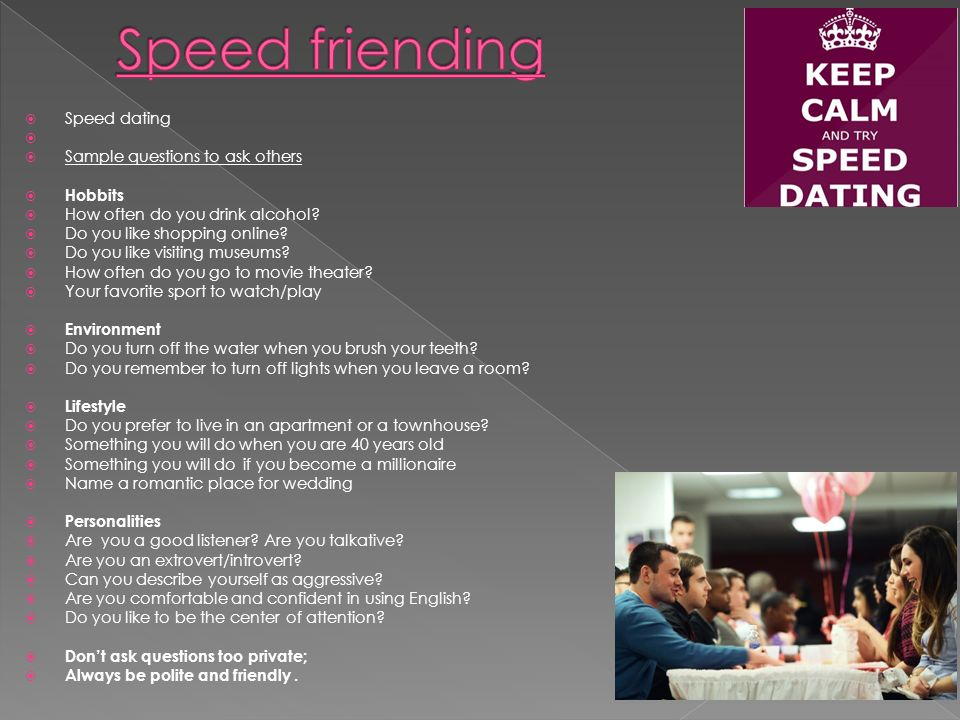 speed dating essay For this activity, have students bring in a draft of their proposed thesis statement after a short introduction about what you expect from their thesis statements (which could vary widely, depending on what type of class you're teaching), provide questions for students to answer about their peers' claims.