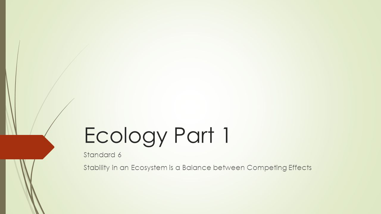 Ecology Part 1 Standard 6 Stability in an Ecosystem is a Balance between Competing Effects