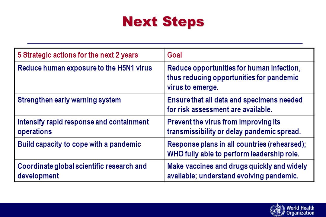 Next Steps 5 Strategic actions for the next 2 yearsGoal Reduce human exposure to the H5N1 virusReduce opportunities for human infection, thus reducing opportunities for pandemic virus to emerge.