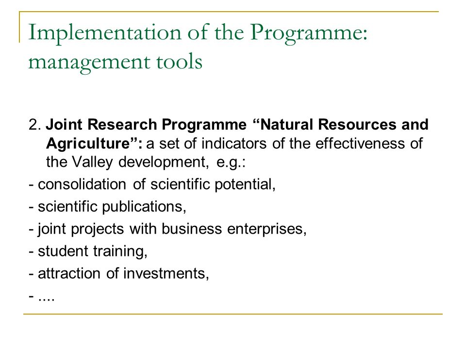 Implementation of the Programme: management tools 2.