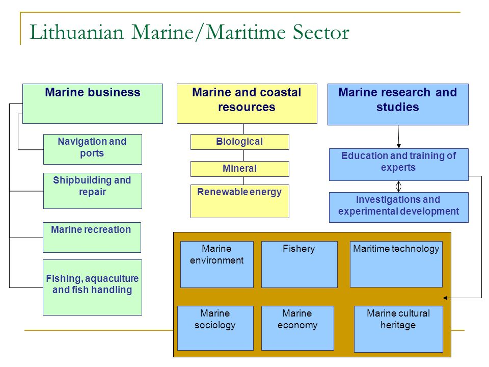 Lithuanian Marine/Maritime Sector Marine business Marine environment Marine research and studies Marine cultural heritage Renewable energy Marine and coastal resources Biological Mineral Education and training of experts Investigations and experimental development Fishery Marine sociology Marine economy Maritime technology Navigation and ports Shipbuilding and repair Marine recreation Fishing, aquaculture and fish handling