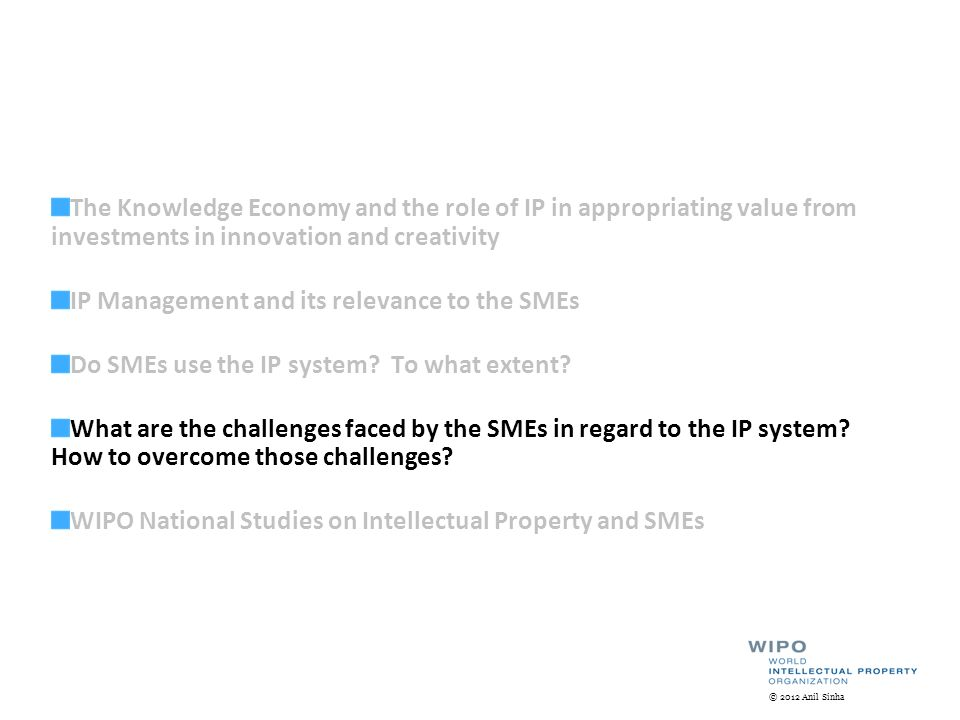 The Knowledge Economy and the role of IP in appropriating value from investments in innovation and creativity IP Management and its relevance to the SMEs Do SMEs use the IP system.