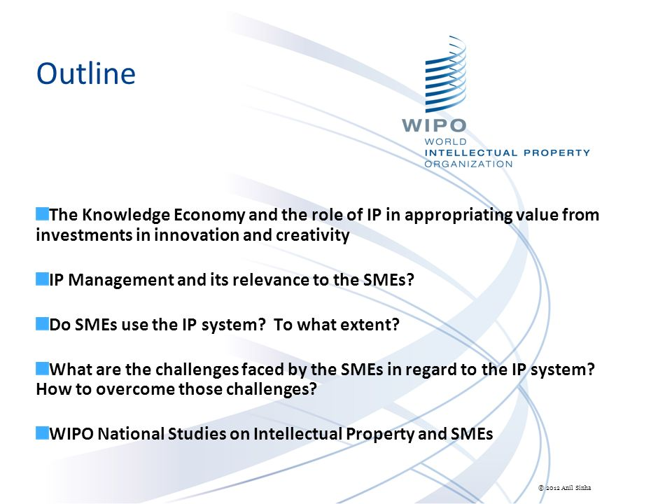 Outline The Knowledge Economy and the role of IP in appropriating value from investments in innovation and creativity IP Management and its relevance to the SMEs.