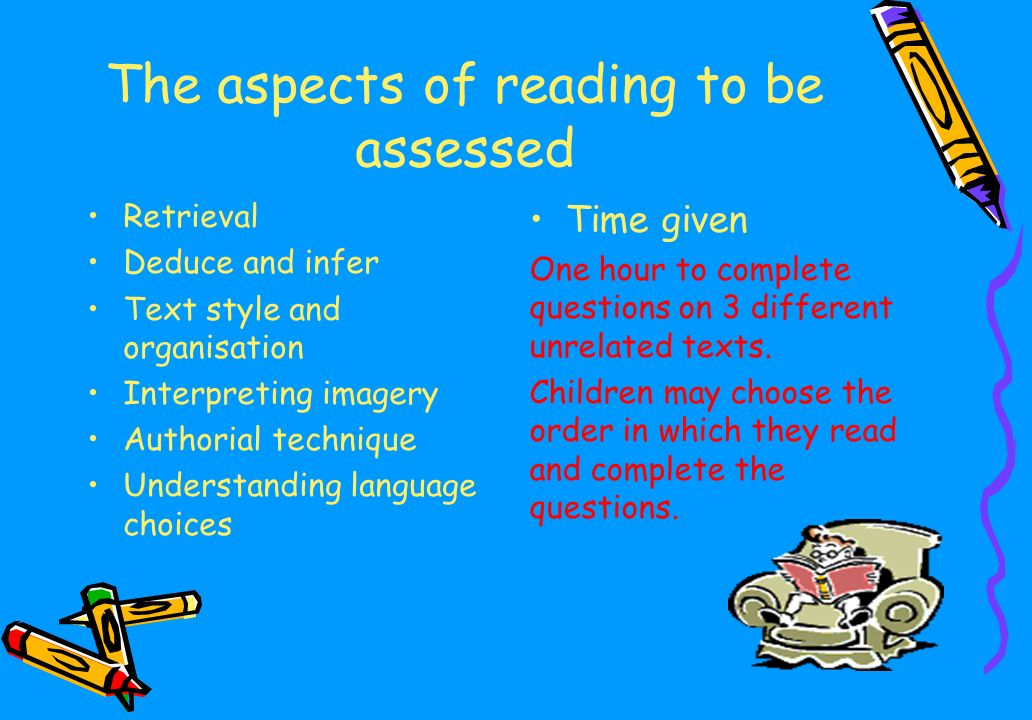 The aspects of reading to be assessed Retrieval Deduce and infer Text style and organisation Interpreting imagery Authorial technique Understanding language choices Time given One hour to complete questions on 3 different unrelated texts.