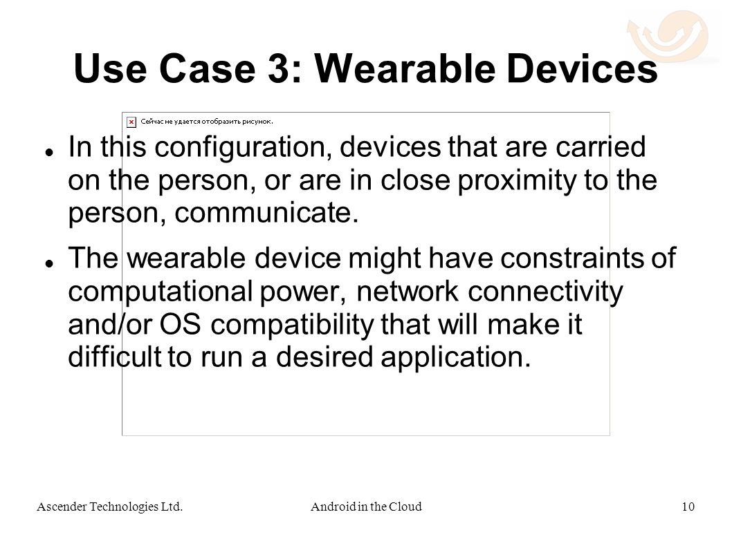 Use Case 3: Wearable Devices In this configuration, devices that are carried on the person, or are in close proximity to the person, communicate.