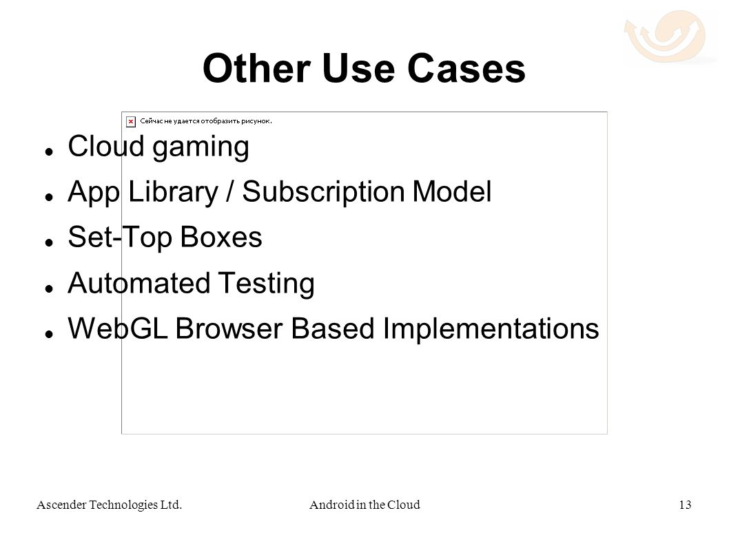Other Use Cases Cloud gaming App Library / Subscription Model Set-Top Boxes Automated Testing WebGL Browser Based Implementations 13Android in the CloudAscender Technologies Ltd.