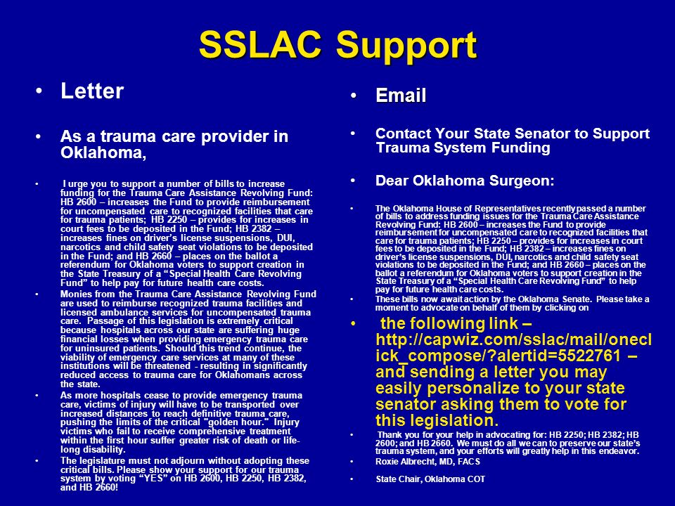 Support for the Trauma System in Oklahoma How we got there/here ...
