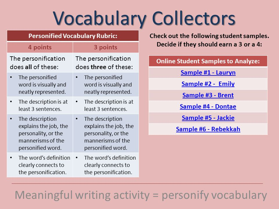 vocabulary collectors meaningful writing activity personify  vocabulary collectors meaningful writing activity personify vocabulary personified vocabulary rubric 4 points3 points the