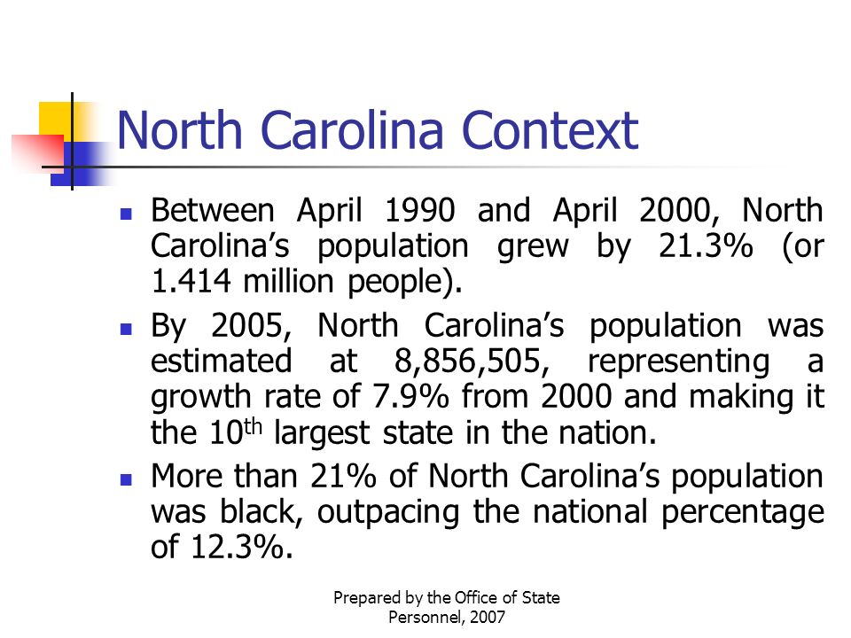 Prepared by the Office of State Personnel, 2007 North Carolina Context Between April 1990 and April 2000, North Carolina's population grew by 21.3% (or million people).