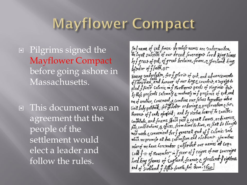  Pilgrims signed the Mayflower Compact before going ashore in Massachusetts.