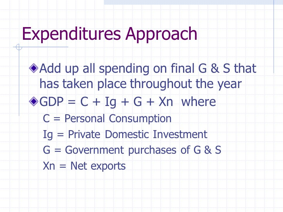 Expenditures Approach Add up all spending on final G & S that has taken place throughout the year GDP = C + Ig + G + Xn where C = Personal Consumption Ig = Private Domestic Investment G = Government purchases of G & S Xn = Net exports