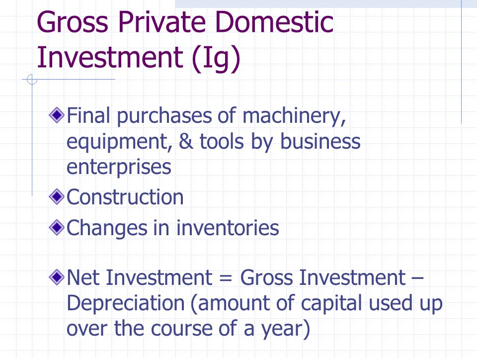 Gross Private Domestic Investment (Ig) Final purchases of machinery, equipment, & tools by business enterprises Construction Changes in inventories Net Investment = Gross Investment – Depreciation (amount of capital used up over the course of a year)