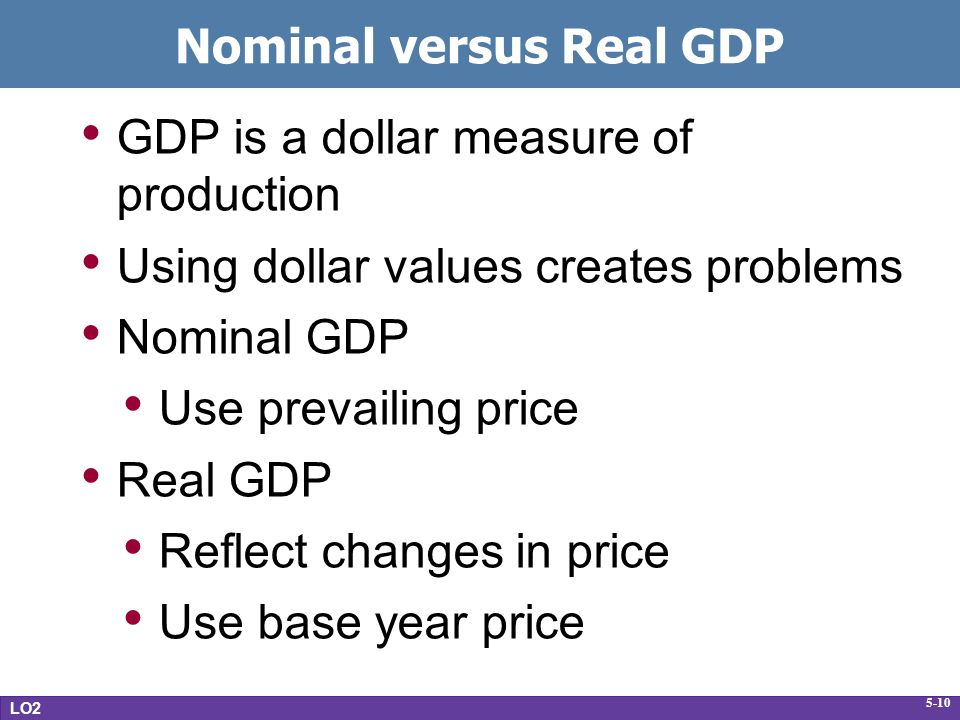 5-10 Nominal versus Real GDP GDP is a dollar measure of production Using dollar values creates problems Nominal GDP Use prevailing price Real GDP Reflect changes in price Use base year price LO2