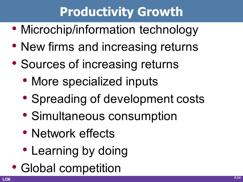 5-24 Productivity Growth Microchip/information technology New firms and increasing returns Sources of increasing returns More specialized inputs Spreading of development costs Simultaneous consumption Network effects Learning by doing Global competition LO6
